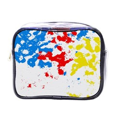 Paint Splatter Digitally Created Blue Red And Yellow Splattering Of Paint On A White Background Mini Toiletries Bags