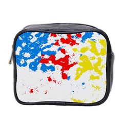 Paint Splatter Digitally Created Blue Red And Yellow Splattering Of Paint On A White Background Mini Toiletries Bag 2-Side