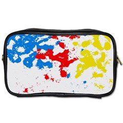 Paint Splatter Digitally Created Blue Red And Yellow Splattering Of Paint On A White Background Toiletries Bags 2 Side