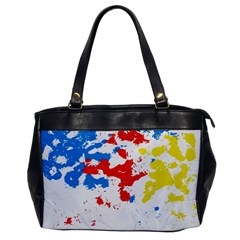 Paint Splatter Digitally Created Blue Red And Yellow Splattering Of Paint On A White Background Office Handbags