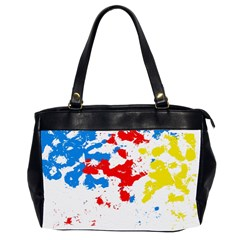 Paint Splatter Digitally Created Blue Red And Yellow Splattering Of Paint On A White Background Office Handbags (2 Sides)