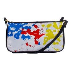 Paint Splatter Digitally Created Blue Red And Yellow Splattering Of Paint On A White Background Shoulder Clutch Bags