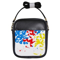 Paint Splatter Digitally Created Blue Red And Yellow Splattering Of Paint On A White Background Girls Sling Bags