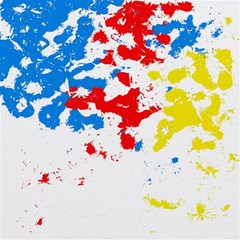Paint Splatter Digitally Created Blue Red And Yellow Splattering Of Paint On A White Background Magic Photo Cubes