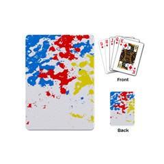 Paint Splatter Digitally Created Blue Red And Yellow Splattering Of Paint On A White Background Playing Cards (Mini)