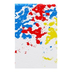 Paint Splatter Digitally Created Blue Red And Yellow Splattering Of Paint On A White Background Shower Curtain 48  x 72  (Small)