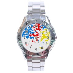 Paint Splatter Digitally Created Blue Red And Yellow Splattering Of Paint On A White Background Stainless Steel Analogue Watch