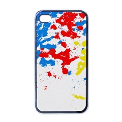 Paint Splatter Digitally Created Blue Red And Yellow Splattering Of Paint On A White Background Apple Iphone 4 Case (black)