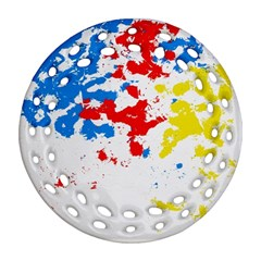 Paint Splatter Digitally Created Blue Red And Yellow Splattering Of Paint On A White Background Ornament (round Filigree)