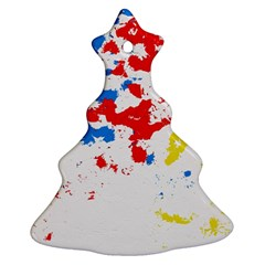 Paint Splatter Digitally Created Blue Red And Yellow Splattering Of Paint On A White Background Ornament (Christmas Tree)