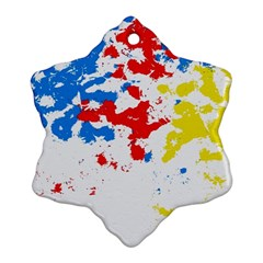 Paint Splatter Digitally Created Blue Red And Yellow Splattering Of Paint On A White Background Snowflake Ornament (Two Sides)