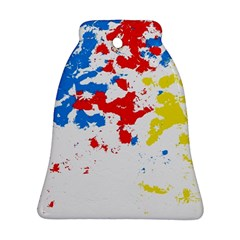 Paint Splatter Digitally Created Blue Red And Yellow Splattering Of Paint On A White Background Bell Ornament (Two Sides)