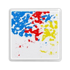 Paint Splatter Digitally Created Blue Red And Yellow Splattering Of Paint On A White Background Memory Card Reader (Square)