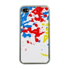 Paint Splatter Digitally Created Blue Red And Yellow Splattering Of Paint On A White Background Apple Iphone 4 Case (clear)
