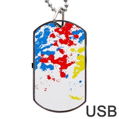 Paint Splatter Digitally Created Blue Red And Yellow Splattering Of Paint On A White Background Dog Tag USB Flash (Two Sides)
