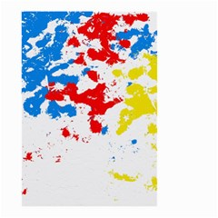 Paint Splatter Digitally Created Blue Red And Yellow Splattering Of Paint On A White Background Small Garden Flag (two Sides)