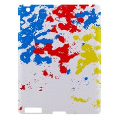 Paint Splatter Digitally Created Blue Red And Yellow Splattering Of Paint On A White Background Apple iPad 3/4 Hardshell Case