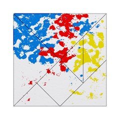 Paint Splatter Digitally Created Blue Red And Yellow Splattering Of Paint On A White Background Acrylic Tangram Puzzle (6  X 6 )