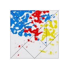 Paint Splatter Digitally Created Blue Red And Yellow Splattering Of Paint On A White Background Acrylic Tangram Puzzle (4  x 4 )
