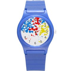 Paint Splatter Digitally Created Blue Red And Yellow Splattering Of Paint On A White Background Round Plastic Sport Watch (s)
