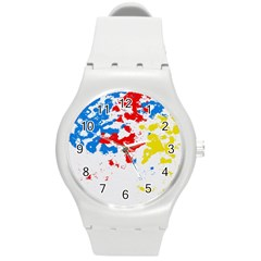 Paint Splatter Digitally Created Blue Red And Yellow Splattering Of Paint On A White Background Round Plastic Sport Watch (M)