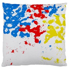 Paint Splatter Digitally Created Blue Red And Yellow Splattering Of Paint On A White Background Large Cushion Case (One Side)