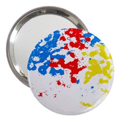Paint Splatter Digitally Created Blue Red And Yellow Splattering Of Paint On A White Background 3  Handbag Mirrors