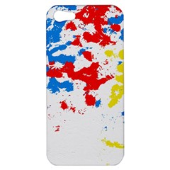 Paint Splatter Digitally Created Blue Red And Yellow Splattering Of Paint On A White Background Apple iPhone 5 Hardshell Case
