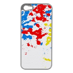 Paint Splatter Digitally Created Blue Red And Yellow Splattering Of Paint On A White Background Apple iPhone 5 Case (Silver)