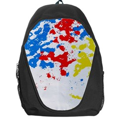 Paint Splatter Digitally Created Blue Red And Yellow Splattering Of Paint On A White Background Backpack Bag