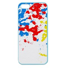 Paint Splatter Digitally Created Blue Red And Yellow Splattering Of Paint On A White Background Apple Seamless Iphone 5 Case (color)