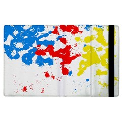Paint Splatter Digitally Created Blue Red And Yellow Splattering Of Paint On A White Background Apple Ipad 2 Flip Case