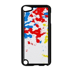 Paint Splatter Digitally Created Blue Red And Yellow Splattering Of Paint On A White Background Apple iPod Touch 5 Case (Black)