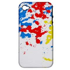 Paint Splatter Digitally Created Blue Red And Yellow Splattering Of Paint On A White Background Apple Iphone 4/4s Hardshell Case (pc+silicone)