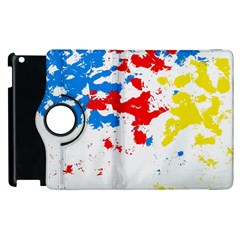 Paint Splatter Digitally Created Blue Red And Yellow Splattering Of Paint On A White Background Apple Ipad 2 Flip 360 Case
