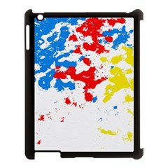 Paint Splatter Digitally Created Blue Red And Yellow Splattering Of Paint On A White Background Apple iPad 3/4 Case (Black)