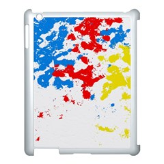 Paint Splatter Digitally Created Blue Red And Yellow Splattering Of Paint On A White Background Apple iPad 3/4 Case (White)