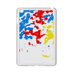 Paint Splatter Digitally Created Blue Red And Yellow Splattering Of Paint On A White Background Ipad Mini 2 Enamel Coated Cases