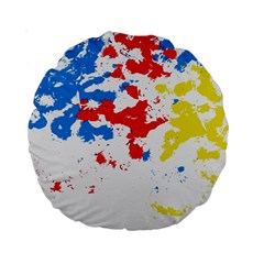 Paint Splatter Digitally Created Blue Red And Yellow Splattering Of Paint On A White Background Standard 15  Premium Round Cushions