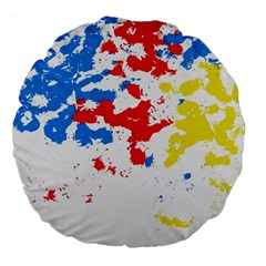 Paint Splatter Digitally Created Blue Red And Yellow Splattering Of Paint On A White Background Large 18  Premium Round Cushions