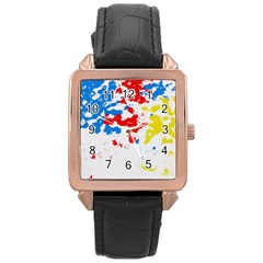 Paint Splatter Digitally Created Blue Red And Yellow Splattering Of Paint On A White Background Rose Gold Leather Watch