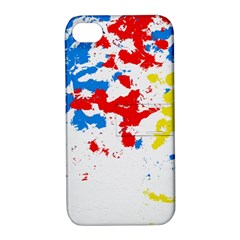 Paint Splatter Digitally Created Blue Red And Yellow Splattering Of Paint On A White Background Apple iPhone 4/4S Hardshell Case with Stand