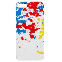 Paint Splatter Digitally Created Blue Red And Yellow Splattering Of Paint On A White Background Apple iPhone 5 Hardshell Case with Stand