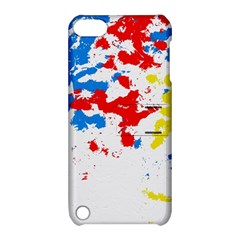 Paint Splatter Digitally Created Blue Red And Yellow Splattering Of Paint On A White Background Apple iPod Touch 5 Hardshell Case with Stand