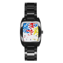 Paint Splatter Digitally Created Blue Red And Yellow Splattering Of Paint On A White Background Stainless Steel Barrel Watch