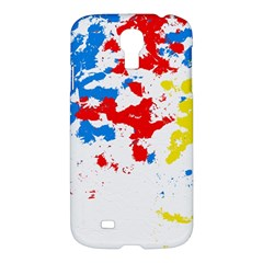 Paint Splatter Digitally Created Blue Red And Yellow Splattering Of Paint On A White Background Samsung Galaxy S4 I9500/I9505 Hardshell Case