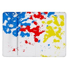 Paint Splatter Digitally Created Blue Red And Yellow Splattering Of Paint On A White Background Samsung Galaxy Tab 10 1  P7500 Flip Case