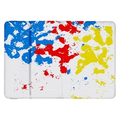 Paint Splatter Digitally Created Blue Red And Yellow Splattering Of Paint On A White Background Samsung Galaxy Tab 8 9  P7300 Flip Case