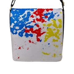 Paint Splatter Digitally Created Blue Red And Yellow Splattering Of Paint On A White Background Flap Messenger Bag (L)