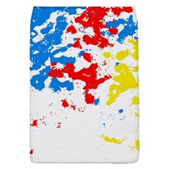 Paint Splatter Digitally Created Blue Red And Yellow Splattering Of Paint On A White Background Flap Covers (l)